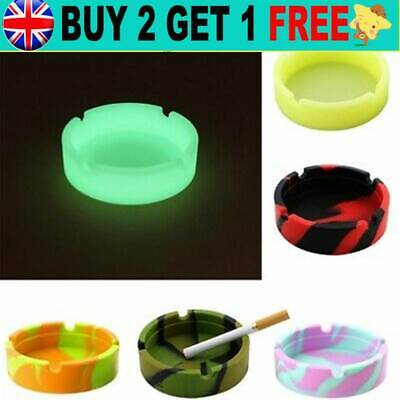 £3.09 • Buy Silicone Round Ashtray Heat Resistant Portable Container Glowing