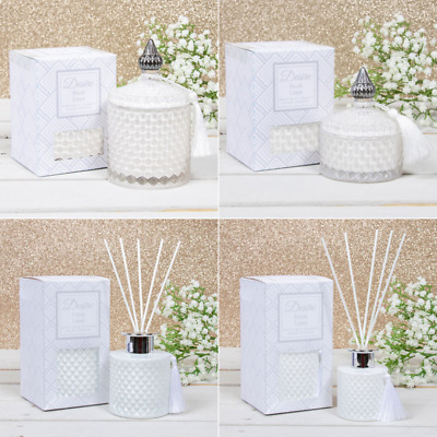 Scented Candle Diffuser Fresh Linen Fragrance Soy Candles Home Glass Jar • 11.99£