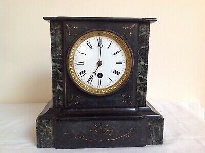 Antique 19th C French Engraved Slate & Marble Mantel Clock With Key & Pendulum  • 60£