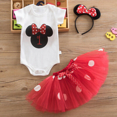 AU26.69 • Buy Baby Girl First 1st Birthday Minnie Cartoon Outfit Set Dress Tutu Skirt Headband