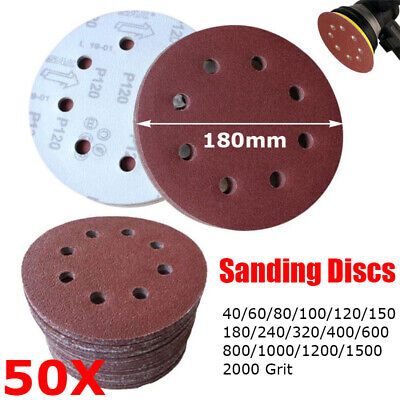 AU21.49 • Buy 50PCS 180mm Sanding Discs 7 Inch Sandpaper Pad Hook And Loop 8 Hole 40-2000 Grit