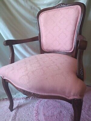 Lovely VINTAGE Reproduction Reprodux Ornate Upholstered Arm Chair Dusky Pink • 39.99£