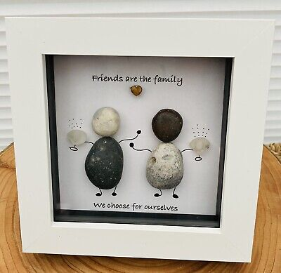 £12.99 • Buy Friends Are Family We Choose Pebble Art Sea Glass Frame Picture