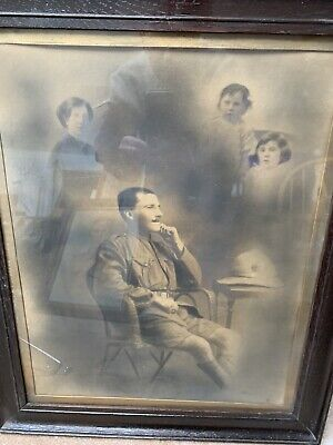 Large Original Framed Portrait Photograph Of A WW1 Soldier In Uniform.FAMILY • 11.50£