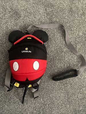 Disney Mickey Mouse Toddler Backpack With Rein. Little Life Brand - VGC • 2.25£