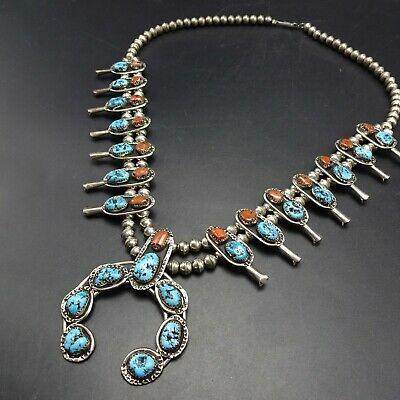 $ CDN1455.83 • Buy Vintage NAVAJO Sterling Silver CORAL & KINGMAN TURQUOISE Squash Blossom NECKLACE