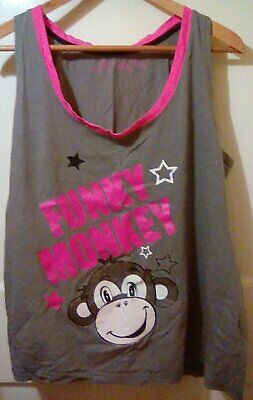 Ladies Grey Pink Funky Monkey Shorts Pyjamas By Closer With Evie Size 18-20 USED • 2£