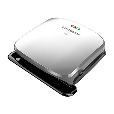 George Foreman 4-Serving Removable Plate Grill And Panini Press, Platinum, • 36.91£