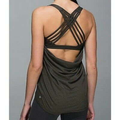 $ CDN24.24 • Buy Lululemon Wild Tank Top Gray Thin Stripes Sz 6