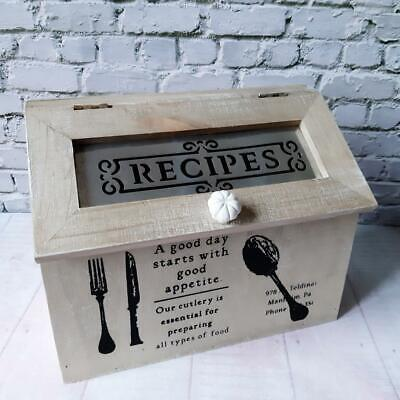 Rustic Wooden Recipes Kitchen Storage Box Country Cottage Decor • 15.99£