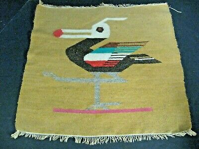 Vintage Southwestern Handwoven Wool Rug Tapestry Wall Hanging Native Bird Design • 14.56£