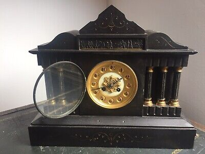Antique Japy Freres Slate Marble Mantle Clock. Circa 1800's.  • 80£