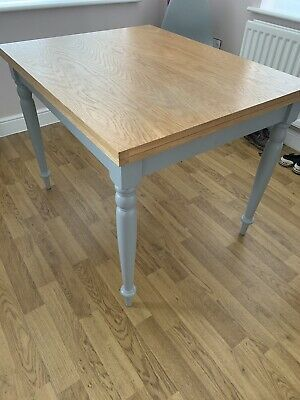NEXT Grey & Oak Extending Dining Table Seats 4 To 6 Farmhouse Style Extendable  • 50£
