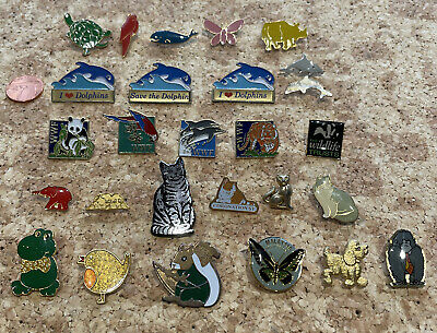 Animal Pin Badges 27 Assorted Pins  • 9£