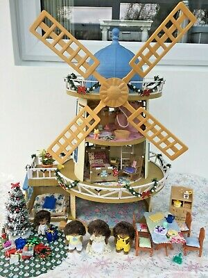 SYLVANIAN FAMILIES DECORATED LARGE WINDMILL BUNDLE FIGURES FURNITURE MORE No.140 • 69.99£