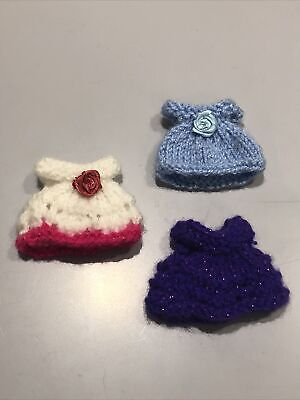 3 Hand Knitted Dresses To Fit Sylvanian Families Characters • 3.99£