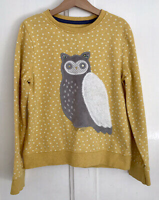 MINI BODEN Girl's Yellow 'Owl' Sweatshirt/Jumper-Size 7-8 Years-VGC • 3.20£
