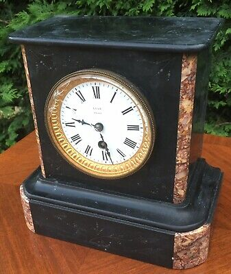Antique Marble Slate Mantel Mantle Clock French Paris Love • 74.99£