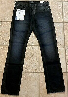 PRPS Jeans Demon Fit Sample Japanese Waxed Denim Black Blue, 32,  Slim Fit, NWT • 100.13£