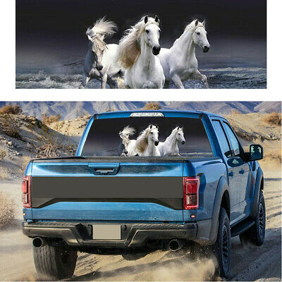 $19.70 • Buy White Horse Rear Window Tint Graphic Decal Sticker Wrap Back Fit For Car Truck