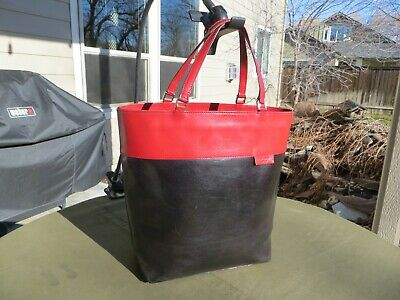 $ CDN44.98 • Buy Kate Spade Red / Black ALL Leather Purse Equestrian Tote Bag Shoulder Bag ITALY