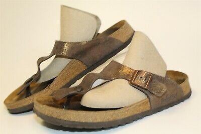 Papillio Birkenstock USED Gizeh Womens 11 42 Metallic Suede Thongs Sandals Shoes • 24.83£
