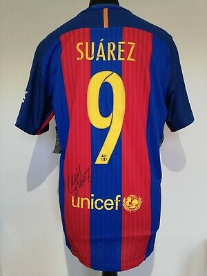 Barcelona Number 9 Player Issue Spec Home Shirt Signed By Luis Suarez Guarantee  • 265£