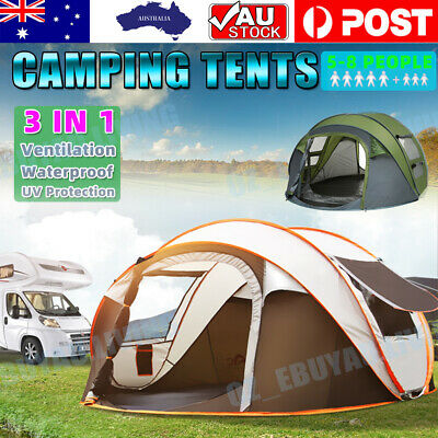 AU99.99 • Buy 3-4/5-8 Person Waterproof Camping Tent Quick Open Shade Family Outdoor Hiking AU