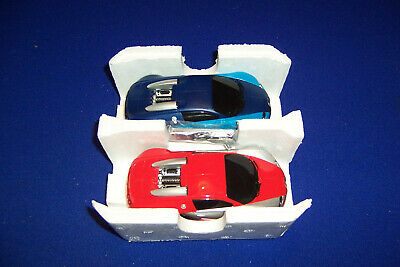Hornby Scalextric Bugatti Veyron Sports Cars X 2 Red & Blue Slot Cars • 35£