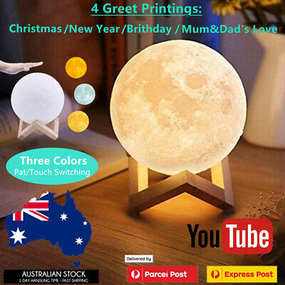 AU6.95 • Buy 3D Printing Moon Lamp Gift LED Night Light USB Lunar Decoration Dimmable Magical