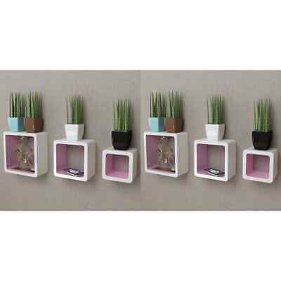 AU74.99 • Buy VidaXL 6x Wall Cube Shelves White And Pink Display Hanging Storage Bookcase