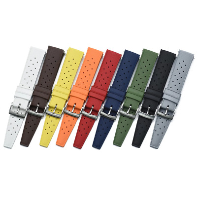 Rubber Tropical Retro Silicone Watch Strap 20mm 22 Mm Quality FKM Rubber *UK* • 13.99£