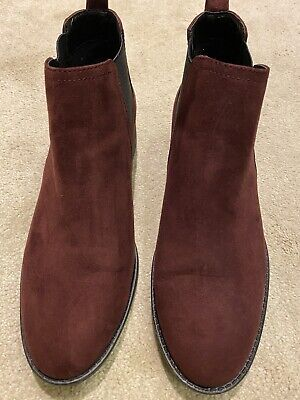 M&S, Burgundy Suede Effect Ankle Boots, Size 7 • 5£
