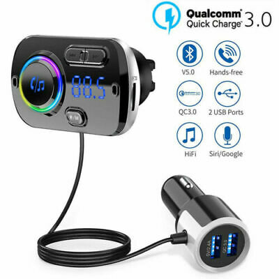 Wireless Bluetooth Car FM Transmitter Kit 2 USB Charger MP3 Player AUX Handsfree • 12.99£