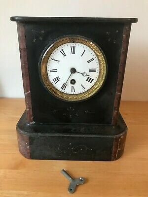 Antique Victorian Slate & Marble Japy Mantel Clock • 35£