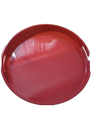 Pottery Barn Kitchen Lacquer Tray Red Round  • 28.60£