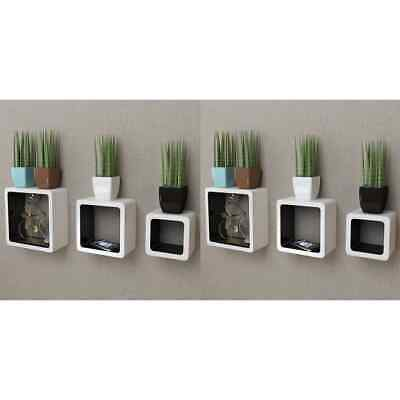 AU80.99 • Buy VidaXL 6x Wall Cube Shelves White And Black Display Hanging Storage Bookcase