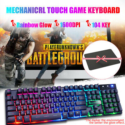 AU19.94 • Buy 1600 DPI LED Wired Mouse And Mechanical Gaming Keyboard Pad For Laptop Desktop