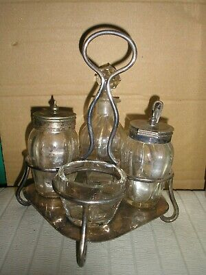 Vintage Silver Plated  And Cut Glass Cruet Set • 35.50£