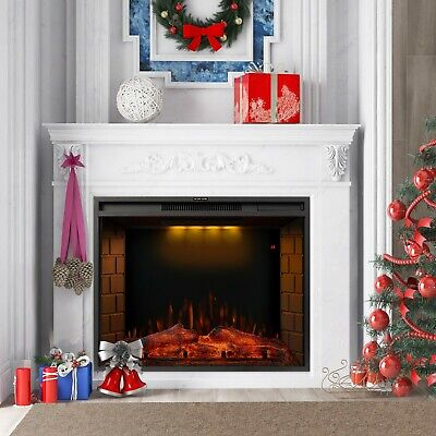1.8KW Electric Fireplace 30'' Log Burning LED Flame Effect Standing Fan Heater • 189.99£