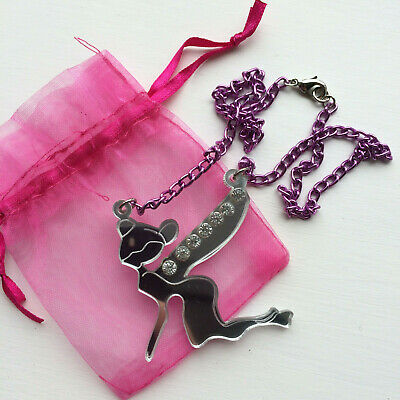 Large Tinkerbell Laser Cut Acrylic Statement Necklace, Pink Chain Kitsch OOAK • 6.99£