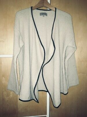 Uterque Cream Wool Mix Cardigan With Leather Trim, Small • 5£