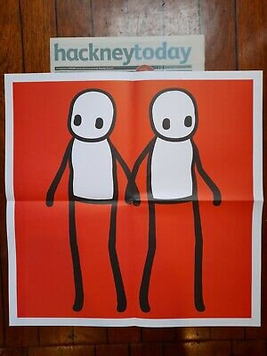 Stik Poster Red  Hackney Today With Slight Damage With Newspaper  • 50£