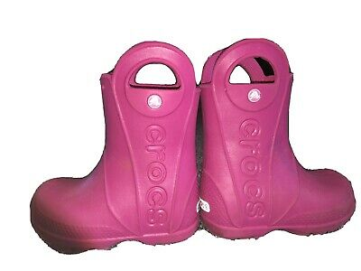 Crocs Pink Girls Toddler Wellies Wellington Boots Size 8 • 5£