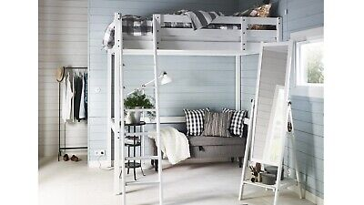 Ikea STORA Loft Bed WHITE WOOD DOUBLE BED • 220£