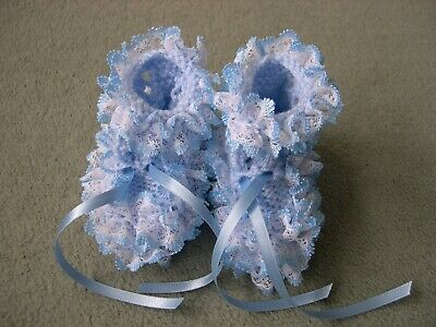New Hand Knitted Blue Lacy Baby Bootees To Fit 0-3 Months • 3.99£