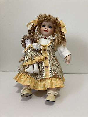 $ CDN3.83 • Buy Collectible Porcelain Doll Seated On Stool. 14 1/2  Girl Doll With Braids