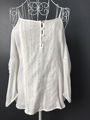 AU8.97 • Buy FOREVER NEW 6 Womens Top Blouse White Cold Shoulder Lace Summer Work Casual