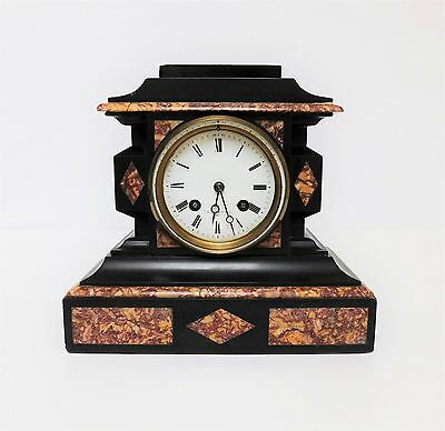 A Delightful Victorian French Made Black Slate & Marble Mantle Clock - T Simpson • 495£