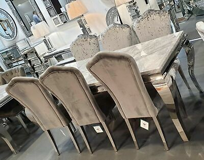 £510.57 • Buy Louis Grey Marble 160CM Dining Table + Grey Lucy Velvet Chairs